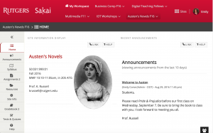 Sakai 11 course home page
