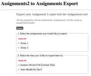 Assignments 2 export tool