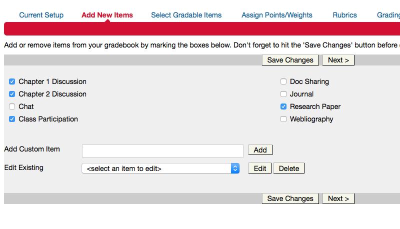Add new items- eCollege gradebook
