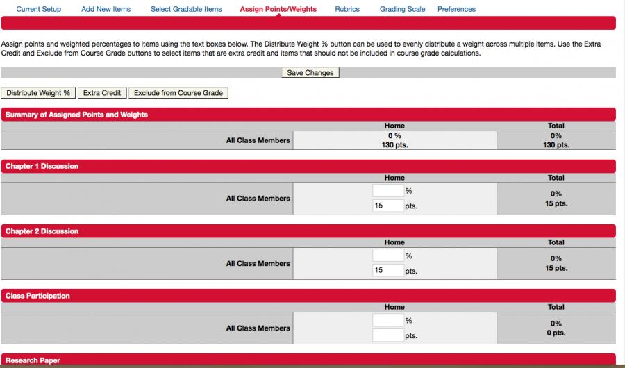 Assign points and weights- eCollege gradebook