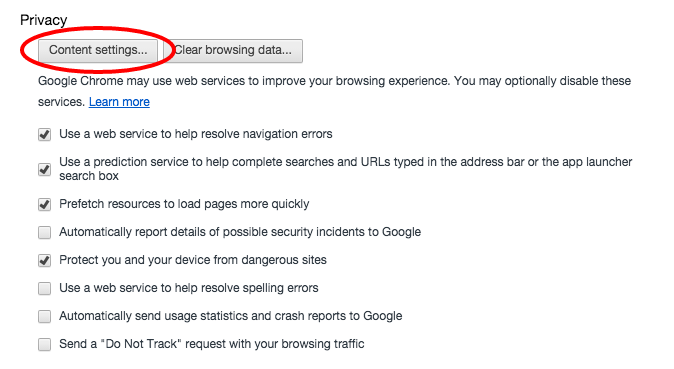 Chrome content settings
