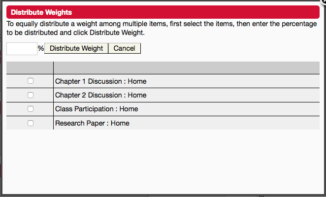 Distribute weight- eCollege gradebook