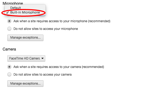 Chrome microphone settings
