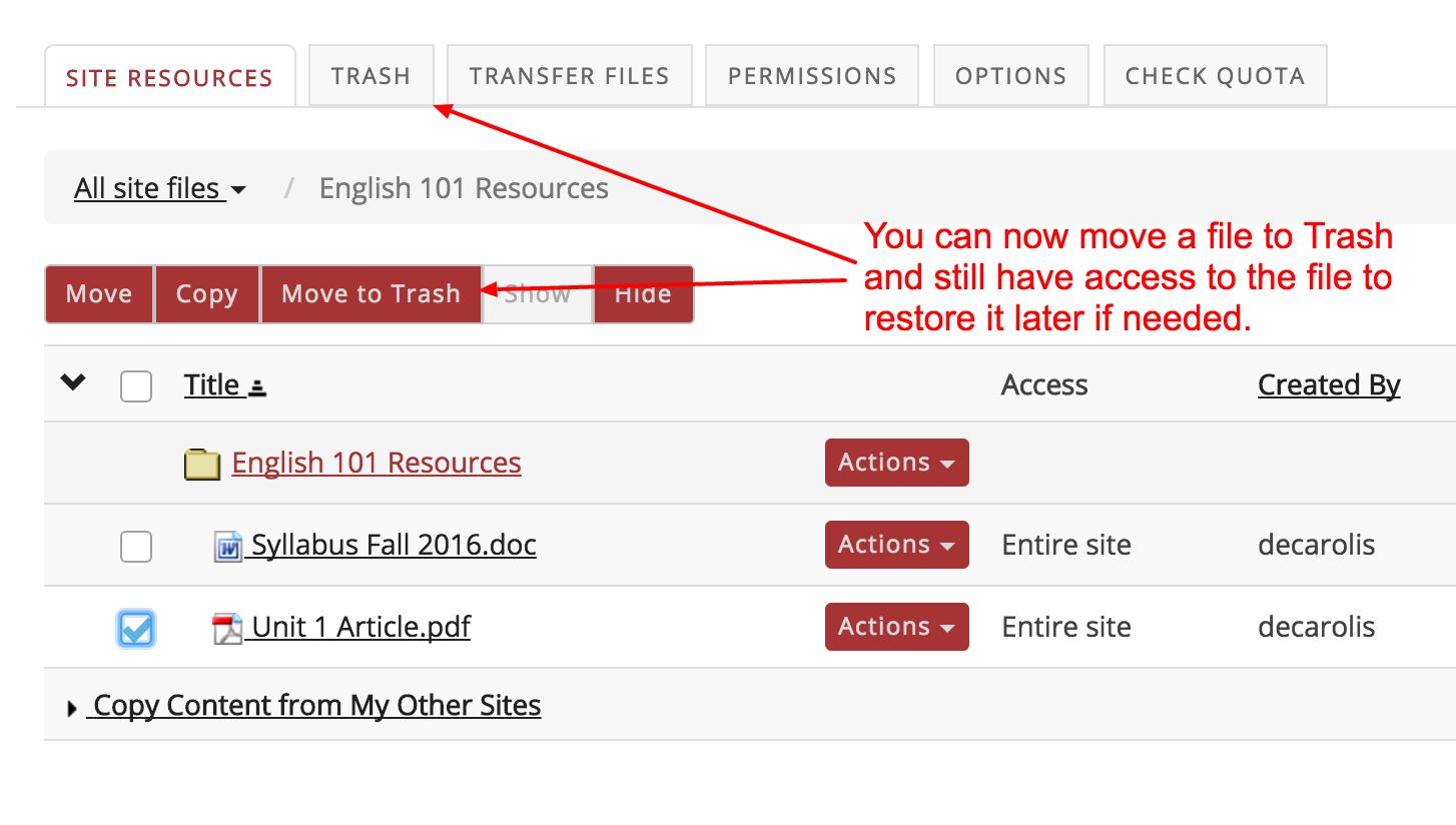 move Resource to trash