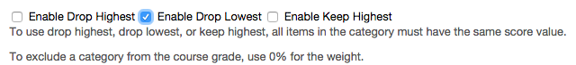 Enable drop lowest is selected